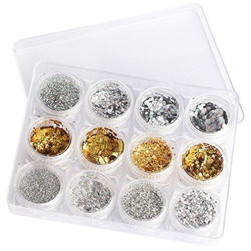 JasCherry 12 Box Nagel Glitter Paillettes Flitter Glitzer pailletten Nail Art Set Kit fur Nagel Dekoration