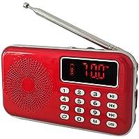 iMinker Portable Mini AM FM Radio Speaker MP3 Music Player Support TF Carte/USB avec LED Affichage, Lampe de Poche, Batterie Rechargeable, Prise Écouteur (Rouge)