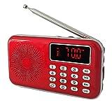 iMinker Mini Portatile Radio FM AM Speaker MP3 Player Supporto TF Card/USB con display a LED, torcia elettrica, batteria ricaricabile, presa per auricolari (Rosso)