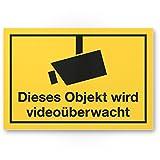 Objekt videoüberwacht Kunststoff Schild (gelb, 30 x 20 cm) - Achtung/Vorsicht Videoüberwachung - Hinweis/Hinweisschild Videoüberwacht - Warnschild/Warnhinweis