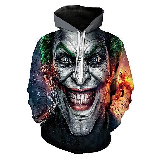 Cool Clown Kostüm - WANLN Halloween Green Hair Cool Clown Kostüm Adult Pure Black Herren Hoodie Sweatshirt,Schwarz,M