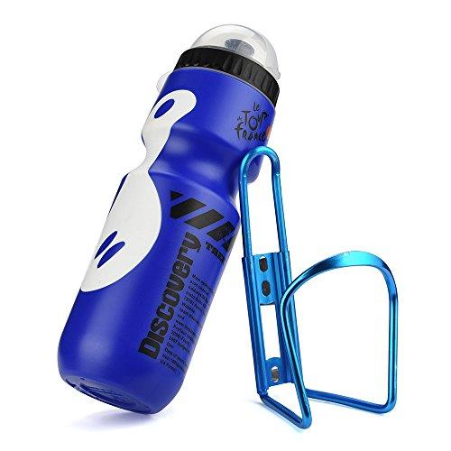 LEvifun Fahrrad Flaschenhalter Aluminum Metall Topcage mit 650ml Wasserkocher Flasche Halter Mountain Straße Fahrrad Radfahren Zubehör C5 (Blau)