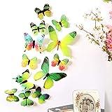 DIKHBJWQ 12pcs Aufkleber Wandaufkleber Home Dekorationen 3D Butterfly Rainbow Green