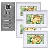 2 Draht 4-Familienhaus Video Türsprechanlage Gegensprechanlage mit 7 '' Monitor