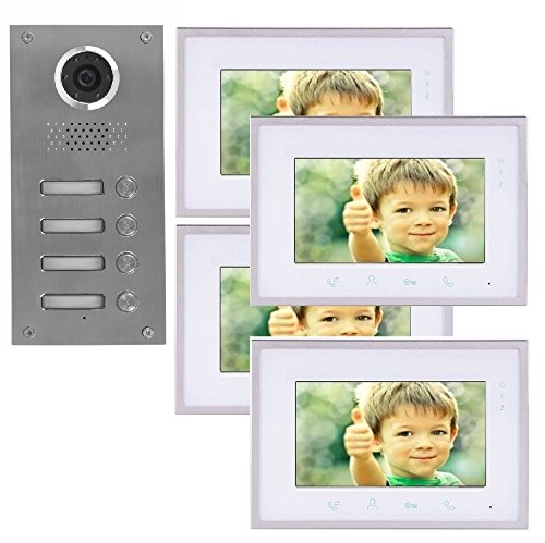 2 Draht 4-Familienhaus Video Türsprechanlage Gegensprechanlage mit 7 \'\' Monitor