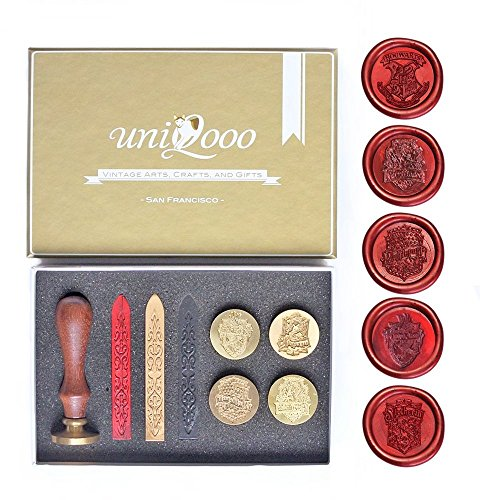 UNIQOOO Arts & Crafts Hogwarts School Ministry of Magic & 4 Houses Collection of 5 Stamps Wax Seal Stamp Kit, Gift Idea -