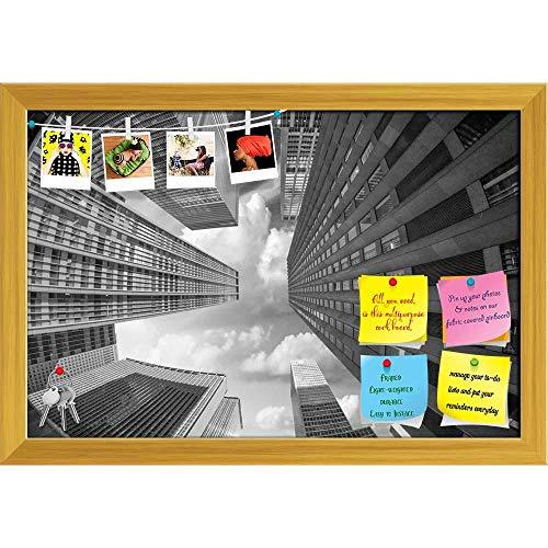 Artzfolio City Skyscrapers In A Fisheye Upward Street View Printed Bulletin Board Notice Pin Board | Golden Frame 17.6 X 12Inch Fisheye-pin