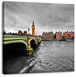 Skyline von London mit Themse und Big Ben schwarz/weiß, Format: 60x60 als Leinwandbild, tolle Bilder fertig auf Holzrahmen gespannt, Kunstdruck auf Wandbild mit Rahmen, günstiger als Gemälde oder Ölbild, kein Poster oder Plakat