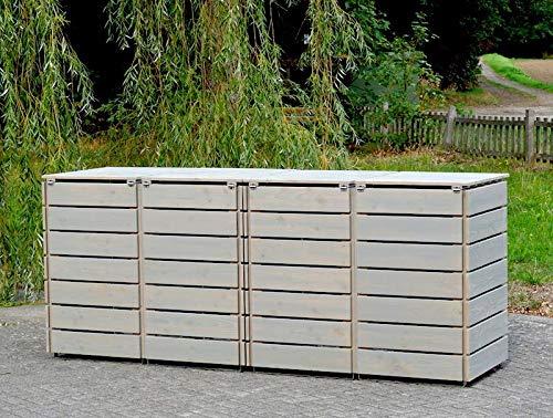 4er Mülltonnenbox / Mülltonnenverkleidung 240 L Holz, Transparent Geölt Grau - 4