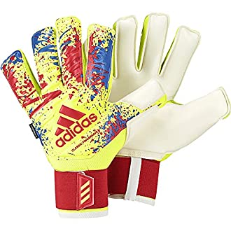 adidas Classic Pro Fingersave Gants Gardien de But Mixte Adulte, Solar Yellow/Active Red/Football Blue, FR : 2XL (Taille Fabricant : 10)