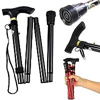 THG® Walking Stick Heavy Duty Folding Mobility Cane Adjustable Collapsible Non Slip (Black)