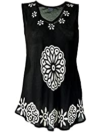 GURU-SHOP Indian Hippie Blouse, Boho Chic Tunic - Black and White, Syntheticfiber, Size:14, Tops, Shirts & Jumpers