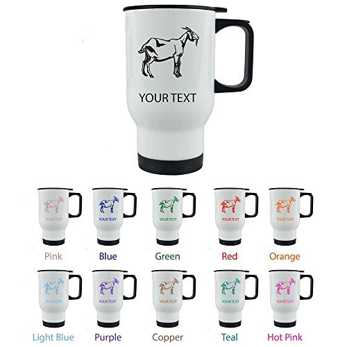 Personalized Custom Goat 14 oz White Stainless Steel Sublimation Coffee Travel Mug for Holiday Gift or Present! Contact Seller for Custom Text/Color or Leave a Gift Message at Checkout! by CustomGiftsNow (Engraved Travel Mugs)