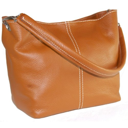 DELARA Piccola borsa shopper in pelle, Made in Italy. Color cachi color caramello