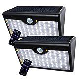 Solar-Lampe 60 LED Solar-Licht 1300 LM Solar-Strahler mit drahtloser Fernbedienung und Sicherheit Bewegungssensor für Outdoor-Garten Hof und Terrassen (weißes Licht) [Energieeffizienzklasse A ++]
