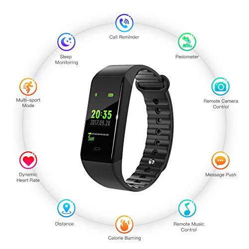 """Raydoes Fitness Armband Uhr mit Pulsmesser(2018 New Design), Aktivitätstracker, Schlafmonitor, 0,96"""" OLED-Farb-Touchscreen, 6 wechselbare Ziffernblätter,Wasserdicht IP67 für iOS und Android"""