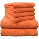 """Dyckhoff 0410996715 Handtuchset """"Brillant"""", 2 Badetücher / Duschtücher 70 x 140 cm und 4 Handtücher 50 x 100 cm, 6-teilig, peach"""
