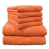 Dyckhoff 0410996005 Handtuchset Brillant, 2 Badetücher/Duschtücher 70 x 140 cm und 4 Handtücher 50 x 100 cm, 6-teilig