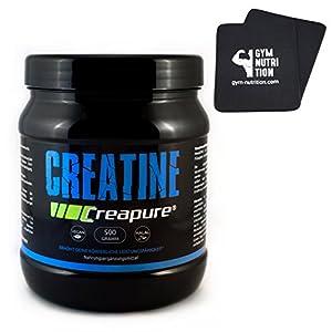 GYM - NUTRITION ✮ Creapure Kreatin - Monohydrat Pulver + Gratis Fitness Pads für Bodybuilder und Sportler | In deutscher Premium-Qualität | 99,95% Reinheit | 500g Vegan & Halal | Mehr Leistung im Gym