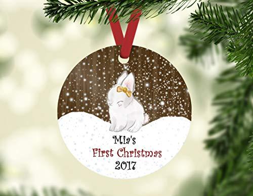 Dozili Baby 's First Christmas Ornament Personalisierte Kinderfigur Baby St. Weihnachten Baby Mädchen Ornament Hase Ornament