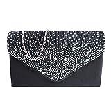 The Best Kingdom Damen Envelope Clutch Bag Abendtasche Braut Hochzeit Tasche Handtasche ,Schulterriehmen und Trageschlaufe (schwarz) DE