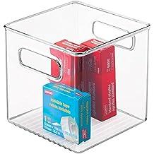 mDesign organizador de escritorio con asas - Caja organizadora color transparente para ordenar objetos pequeños - Guardatodo con múltiples usos para post-it, clips o lápices