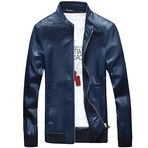 Zhhlaixing Mode Mens Long Sleeve Jackets Windbreaker PU Leather Outerwear blue