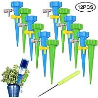 Irrigazione a Goccia,12pcs Regolabile Auto Irrigazione Watering Stakes Sistema di Punte per Il Giardino di Casa Cortile Patio Balcone Colore Misto