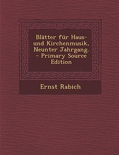 Blatter Fur Haus- Und Kirchenmusik, Neunter Jahrgang. - Primary Source Edition