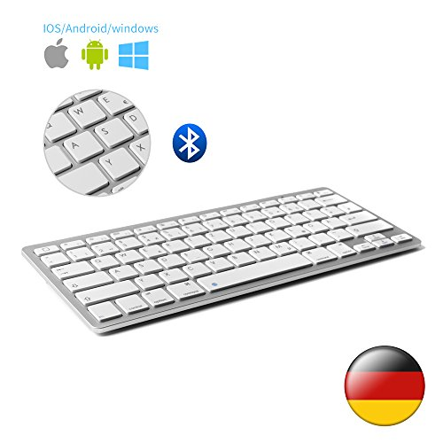 D DINGRICH Wireless Bluetooth Tastatur (QWERTZ), Ultra Dünn Wireless Bluetooth Tastatur für Allen IOS, iPad, Android, Mac und Windows Geräten