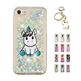 Kawaii-Shop Coque iPhone 5 5S Se Glitter Liquide, Cute Belle Licorne Bleue TPU...