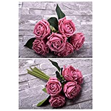 YATAI 6 Heads Real Touch Artificial Rose Flowers Floral Wedding Bouquet Wholesale Artificial Flowers Plants for Home Party Arts Crafts Project Decorations (Dark Pink)
