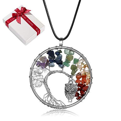 Colgante de cadena de amatista de piedra natural del árbol de la vida para mujeres,niñas ronda 7Chakra de curación Piedra cristal Collar búho,regalo cumpleaños bisutería de curación energética unisex