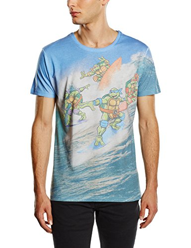 TMNT All Over Surfing Turtles-Top Uomo    blu Large