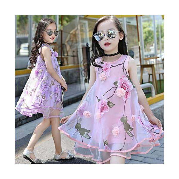YWLINK Vestido NiñA,Verano Sin Mangas Vestido De La Flor del Chaleco del Fleco del Organza De Las Flores 3D,Vestido De… 1