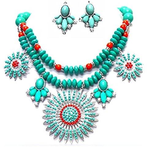 Boho Hippie Chic Set collana orecchini cristallo trasparente turchese verde corallo rosso