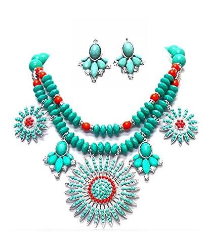 Schmuckanthony Boho Ethno Chic Schmuckset Set Kette Ohrringe Anhänger Türkis Grün Korallen Rot Kristall Klar Transparent