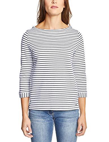 Cecil Damen Struktur Shirt mit Streifen White L