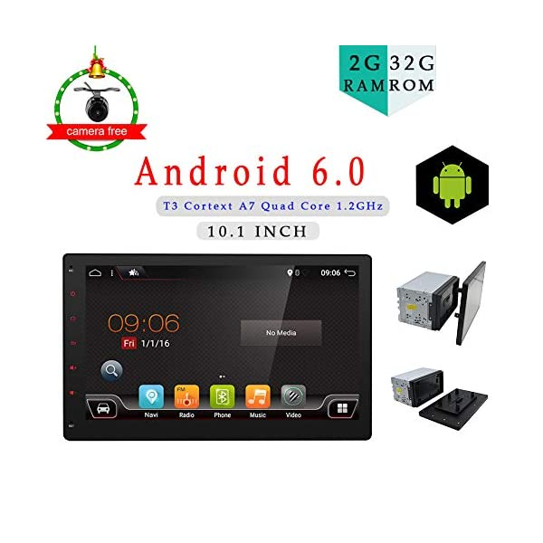 2G 32G Android 6.0 Quad-Core 10.1″ Full Big-screen Universal Car GPS 2 din Stereo Navigation support Bluetooth Wifi OBD DBA Subwoofer Mirror Link free Camera(NO DVD CD player) 516Av9waCcL