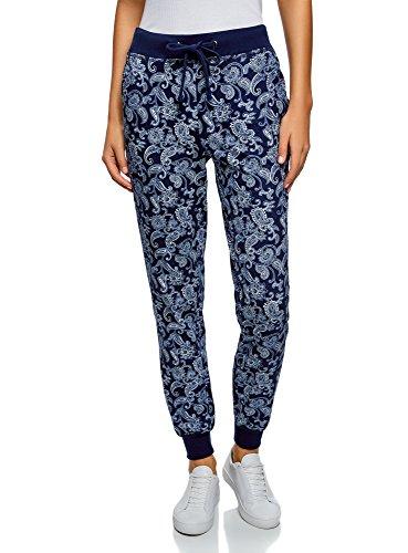 oodji Ultra Damen Jersey-Hose mit Bindebändern, Blau, DE 44 / EU 46 / XXL