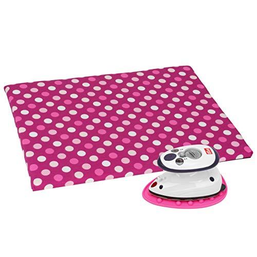 SEMPLIX Bügel Set - Bügelunterlage mit rutschhemmender Rückseite 30 x 40 cm, Mini Bügeleisenablage 10,5 x 15,5 cm, Prym Mini Dampf Bügeleisen (beere/pink)