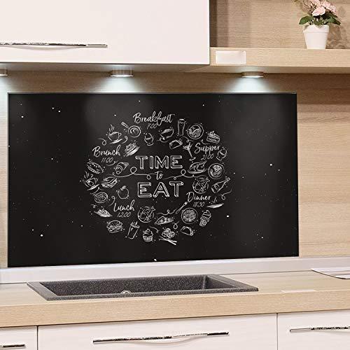 GRAZDesign Fliesenspiegel Küche Küchenspruch - Glasrückwand Küche Küchenmotiv - Rückwand Küche Schwarz - Küchenrückwand Glas Time to Eat / 60x60cm / 200320_60x60_SP -