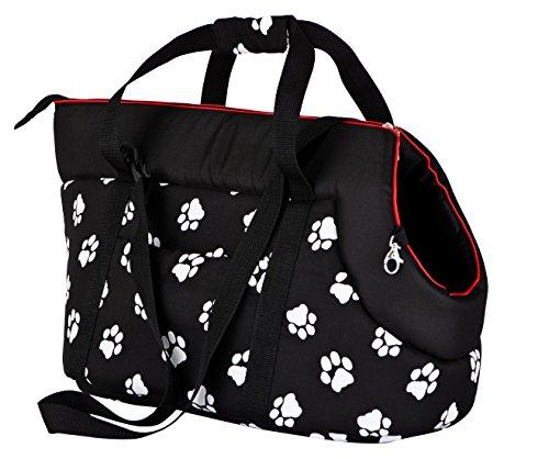 Hobbydog TORCWL3 Hundetasche Tragetasche Katzentasche mit Pfoten, Größe 40 x 30 x 55 cm, schwarz (Taschen Handwerk Schwarz)