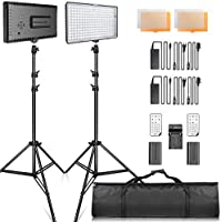 SAMTIAN LED Video Light Kit with Stand LED Panel Set 240pcs 3200/5600K Beads Including Battery Charger Mini Ball Head and Carry Case for YouTube Studio Photography Lighting,Video Shooting