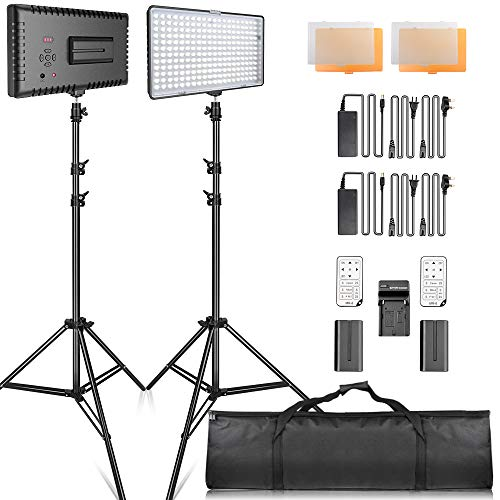 SAMTIAN LED luz Video Kit con Soporte LED Panel Set Kit de Iluminación Incluye 240pcs 3200 / 5600K Beads para fotografía de Estudio Youtube,Video Shooting