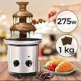 Fuente de Chocolate de 3 Pisos | 275W, Torre de Acero Inoxidable de Altura 39cm, Capacidad 1Kg, Plateado | Fondue Eléctrica con Niveles