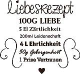 GRAZDesign 300033_57_WT080 Wandtattoo für Küche Rezepte Liebesrezept Herzen Liebe - Geschenk-Idee für Hochzeit | Deko für Küchenwand (62x57cm // 080 braun)