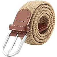 Mens Elastic Braided Belt, JTDEAL Unisex Men Women Vintage Casual Elastic Fabric Woven Braided Stretch Webbed with PU Leather Buckle …