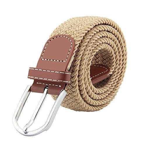 JTDEAL Cinturon elastico hombre, Cinturon Trenzado, Unisex Hombres Mujeres Casual Tejido, Hebilla Metal y Caja De Regalo Negra Elegante Como Regalo, Uso Diario Etc - Beige