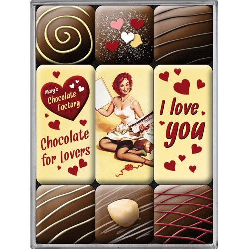 Nostalgic-Art 83047 Say it 50's - I Love You Chocolate, Magnet-Set (9teilig)